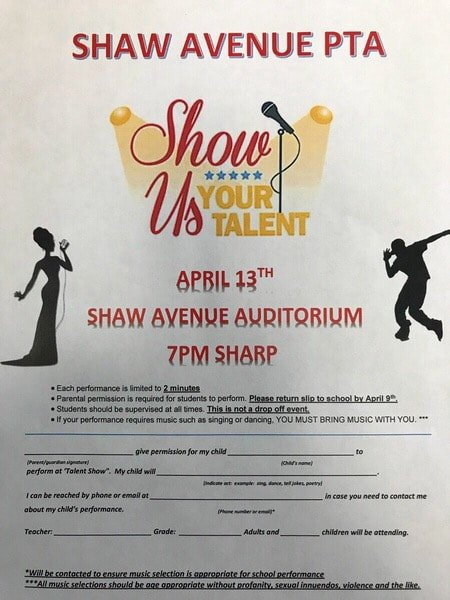 Talent Show Flyer Template New Talent Show Flyer Shaw Avenue Pta