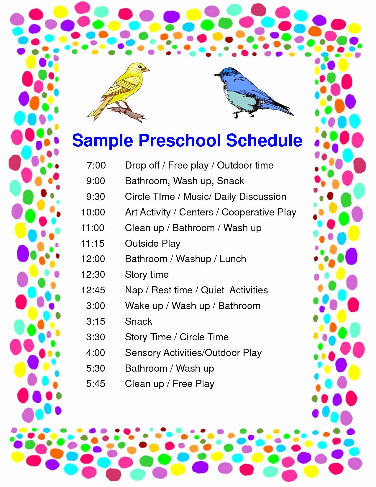 Teacher Daily Schedule Template Awesome Daily Schedule In A Preschool Classroom Calendar June