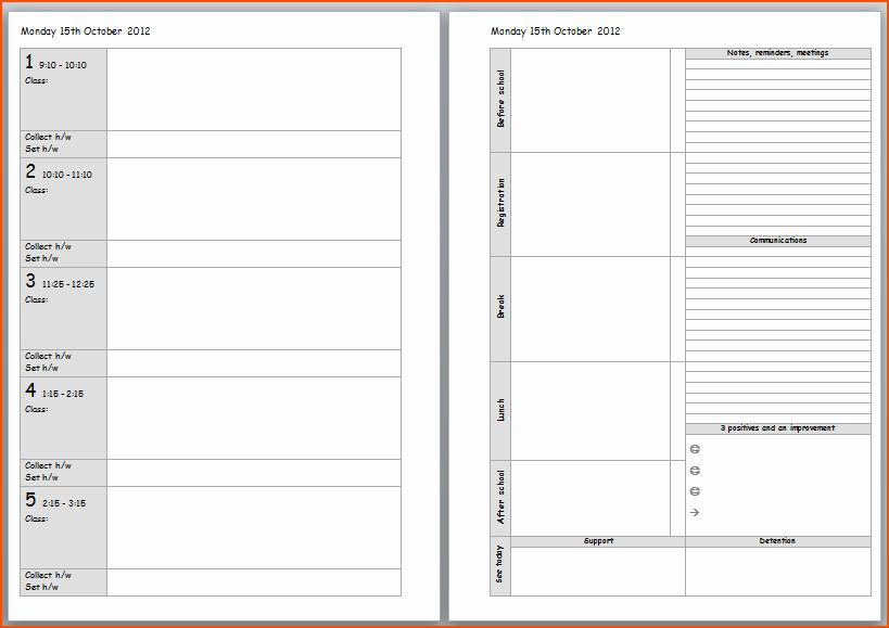 Teacher Daily Schedule Template Beautiful Teacher Planner Template