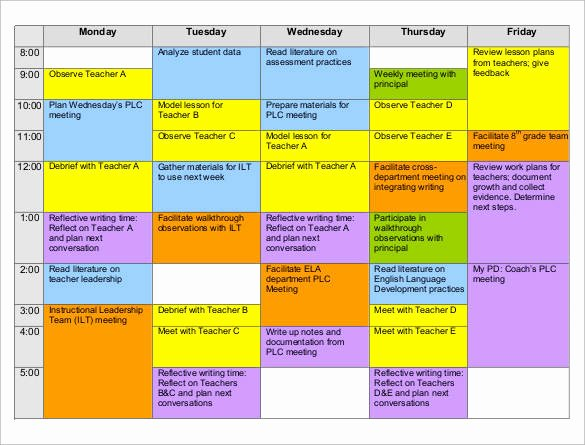 Teacher Daily Schedule Template Best Of Free 37 Sample Weekly Schedule Templates In Google Docs