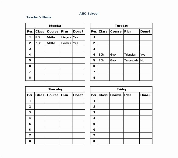 Teacher Daily Schedule Template Elegant 11 Teacher Schedule Templates Docs Excel Pdf