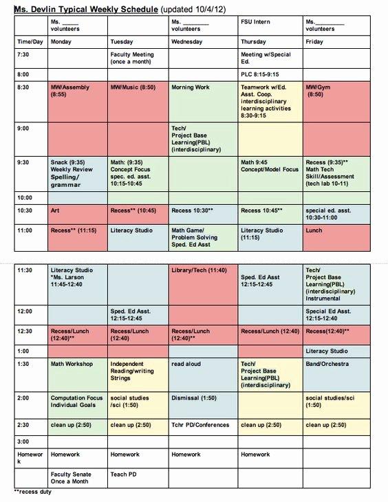 Teacher Daily Schedule Template Elegant Classroom Schedule Template for Teachers