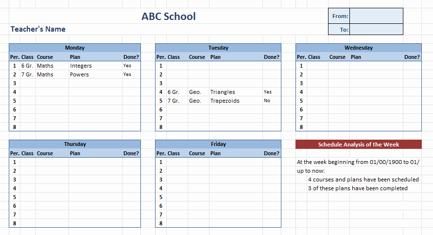Teacher Daily Schedule Template Inspirational 10 Free Teacher Schedule Templates Ms Word Excel & Pdf