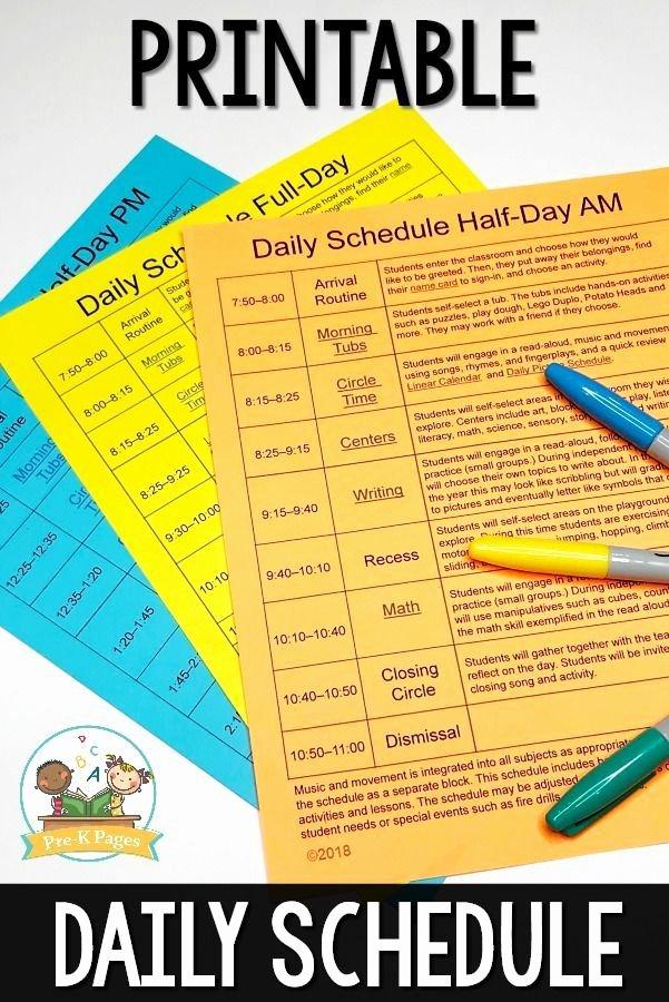 Teacher Daily Schedule Template Inspirational Editable Daily Schedule Templates