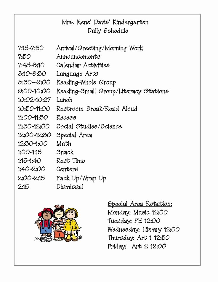 Teacher Daily Schedule Template Lovely 17 Best Ideas About Kindergarten Daily Schedules On