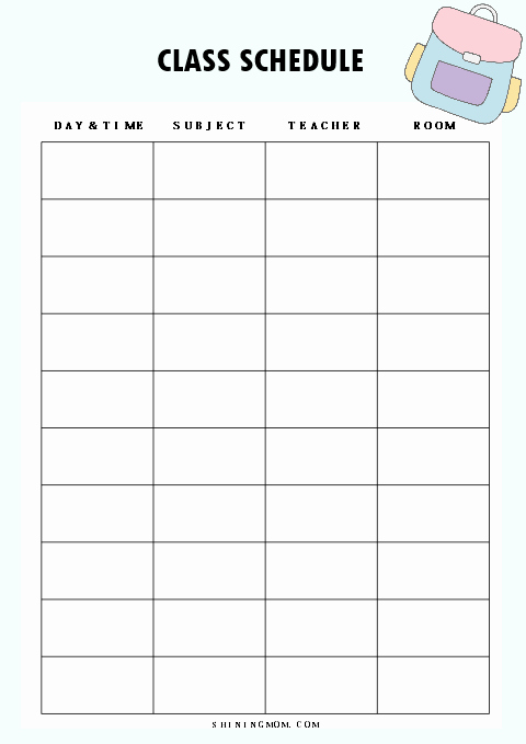 Teacher Daily Schedule Template Lovely 40 Free Student Planner Printables for Back to School