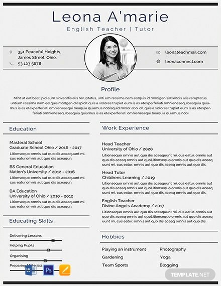 Teacher Resume Template Word Beautiful Free English Teacher Cv Template Word Psd