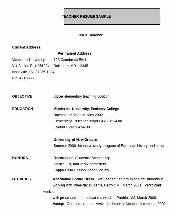 Teacher Resume Template Word Beautiful Resume In Word Template 24 Free Word Pdf Documents