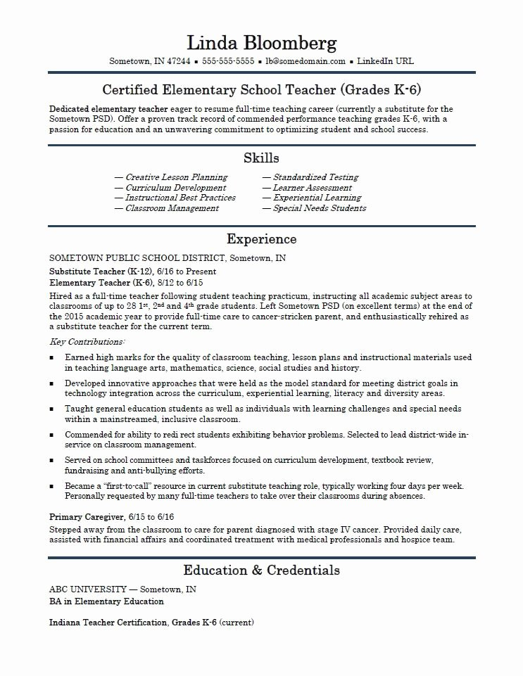 Teacher Resume Template Word Best Of Elementary School Teacher Resume Template