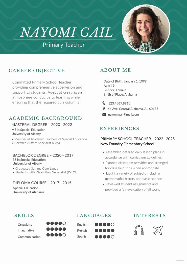 Teacher Resume Template Word Elegant Free Primary Teacher Resume Cv Template In Shop Psd