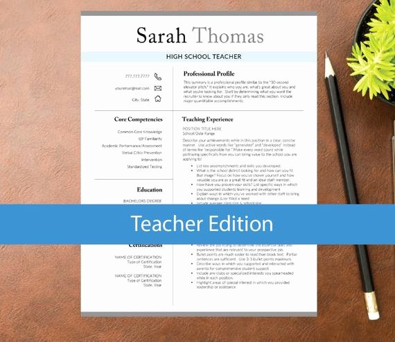 Teacher Resume Template Word Elegant Teacher Resume Template for Word Education Resume A4 & Letter