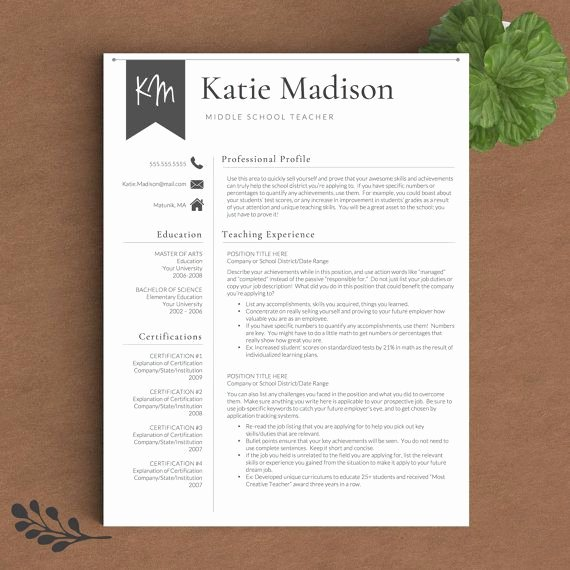 Teacher Resume Template Word Fresh Teacher Resume Template for Word & Pages 1 3 Page Resume
