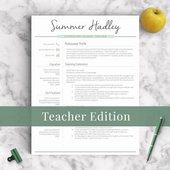 Teacher Resume Template Word Inspirational Teacher Resume Template for Word and Pages 1 3 Page Educator