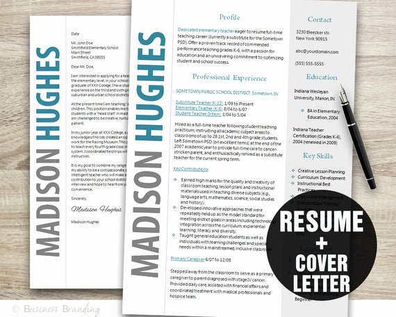 Teacher Resume Template Word Lovely Teacher Resume Template Word Cover Letter Template Instant