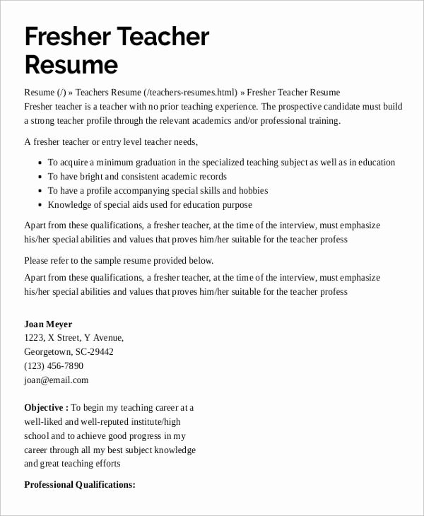 Teacher Resume Template Word Unique 9 Preschool Teacher Resume Templates Pdf Doc
