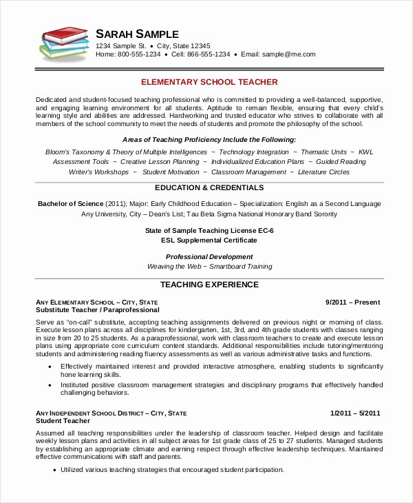 Teacher Resume Template Word Unique Elementary Teacher Resume Template 7 Free Word Pdf