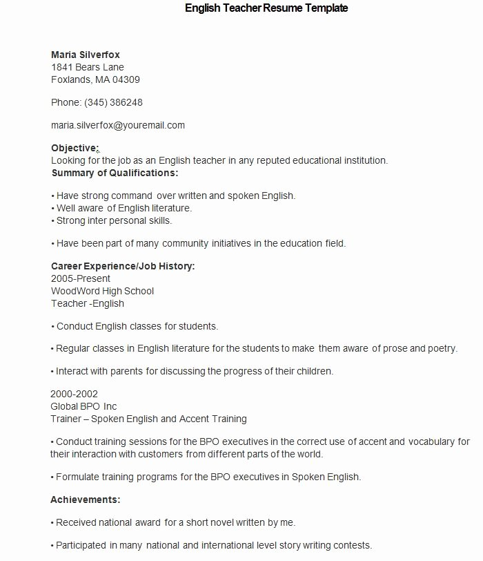 Teacher Resume Template Word Unique How to Make A Good Teacher Resume Template
