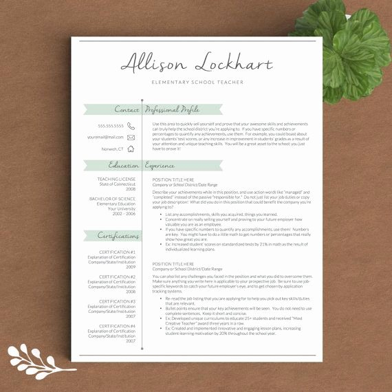 Teacher Resume Template Word Unique Teacher Resume Template for Word & Pages