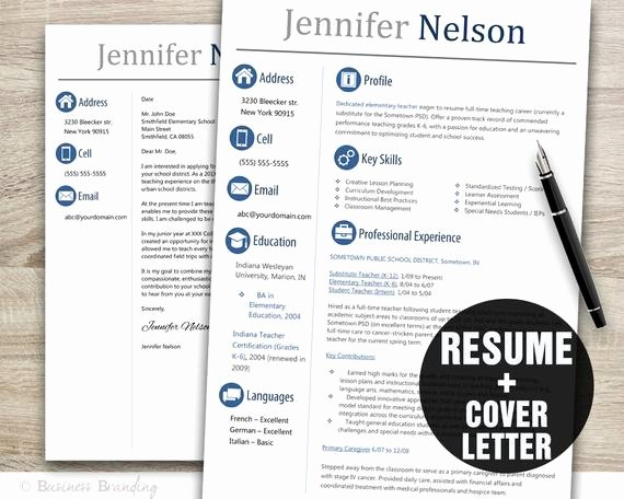 Teacher Resume Template Word Unique Teacher Resume Template Word Cover Letter Template Instant