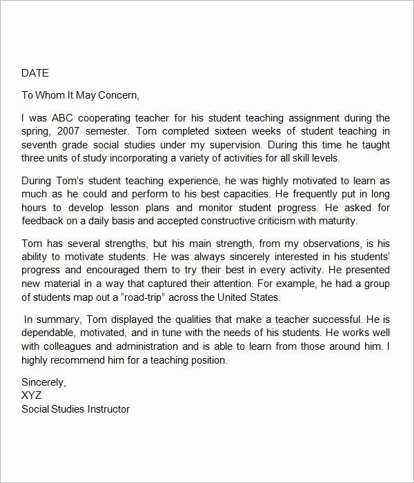 Teaching Letter Of Recommendation Template Best Of Sample Letter Of Re Mendation for Teacher