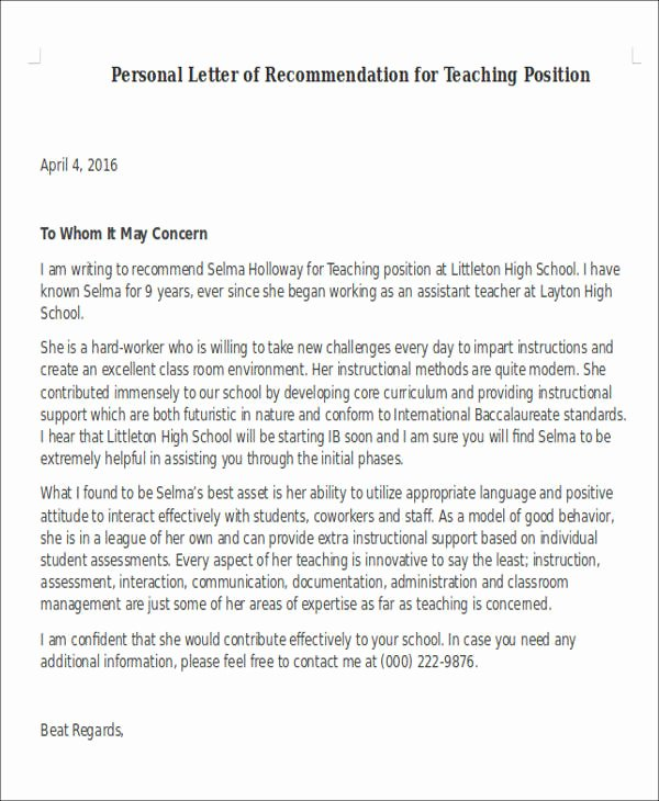 Teaching Letter Of Recommendation Template Best Of Sample Letter Of Re Mendation for Teaching Position 6