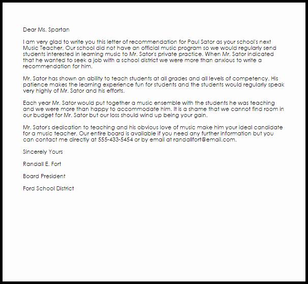 Teaching Letter Of Recommendation Template Elegant Music Teacher Re Mendation Letter Example
