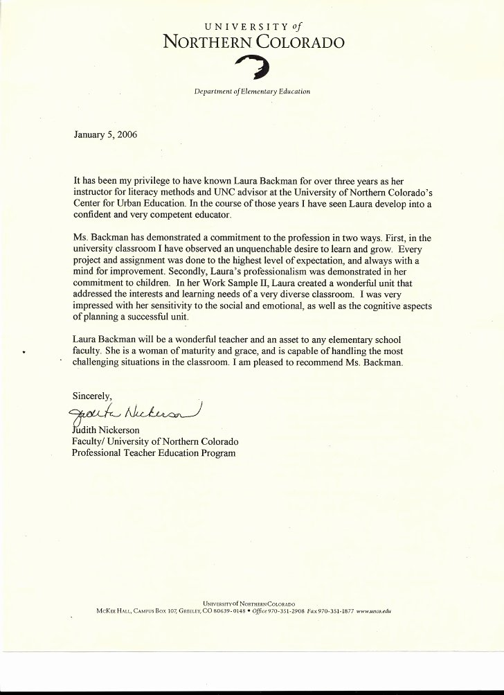 Teaching Letter Of Recommendation Template Fresh Letter Of Re Mendation From Judith Nickerson Faculty Of