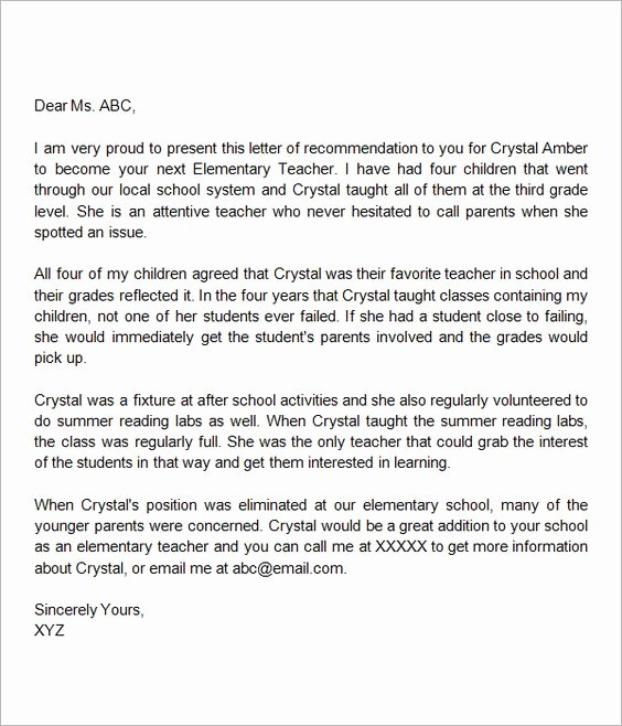 Teaching Letter Of Recommendation Template Inspirational Letter for Teacher Letter Templates and Templates On