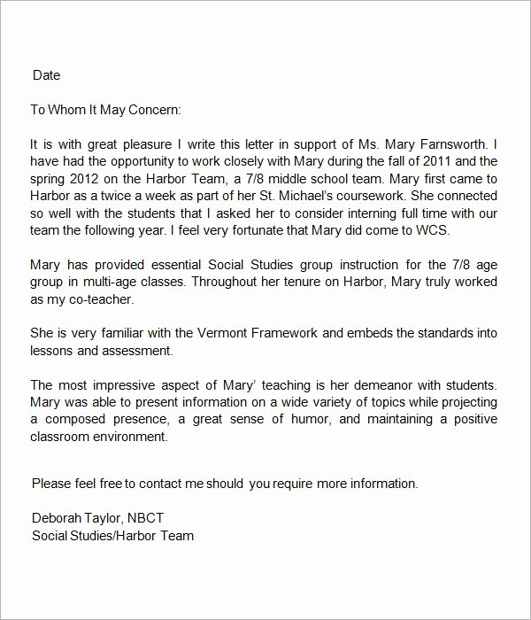 Teaching Letter Of Recommendation Template Lovely 13 Letters Of Re Mendation for Teacher
