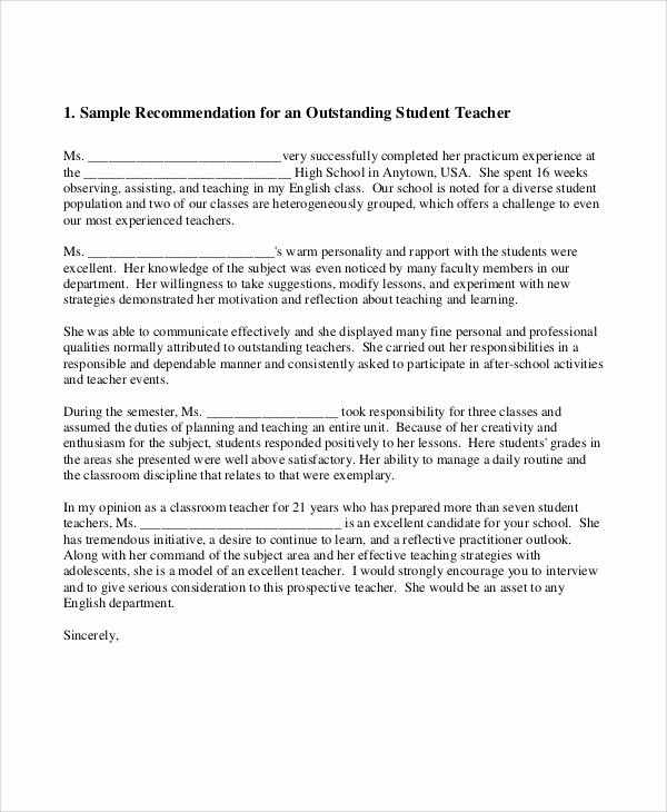 sample teacher re mendation letter