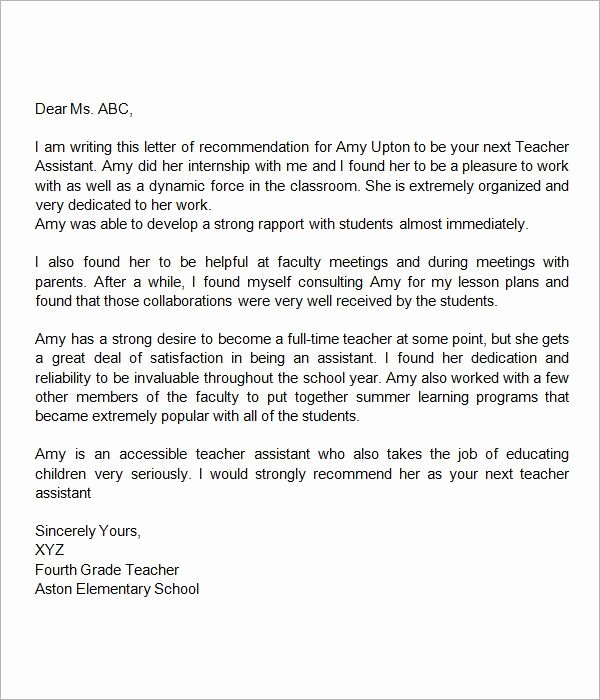 Teaching Letter Of Recommendation Template Luxury Re Mendation Letter for Teacher assistant