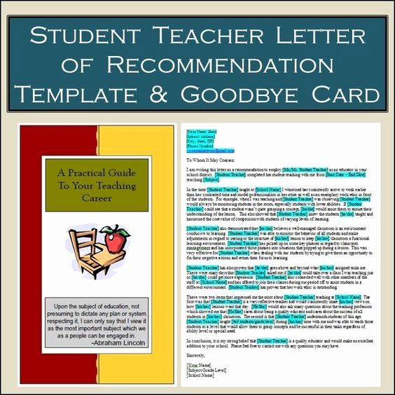 Teaching Letter Of Recommendation Template Unique Student Teacher Card & Letter Of Re Mendation Template