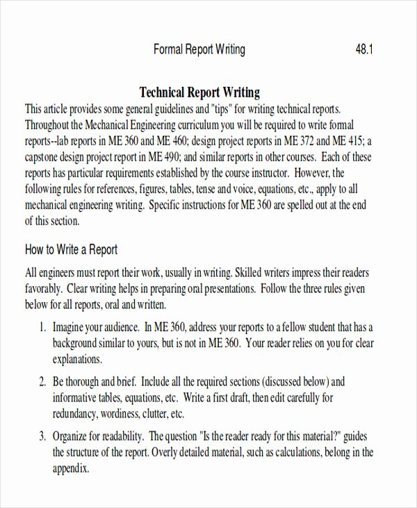 Technical Report Template Word Luxury 9 Sample Technical Reports Pdf Word