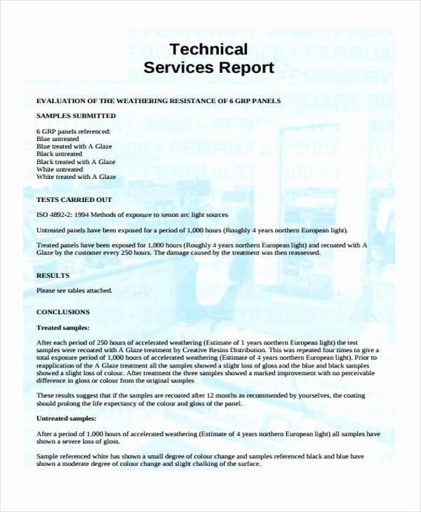 Technical Report Template Word Unique 19 Service Report Templates Free Sample Example format