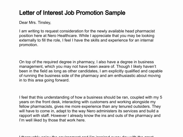 Template for Letter Of Interest Fresh Letter Of Job Interest
