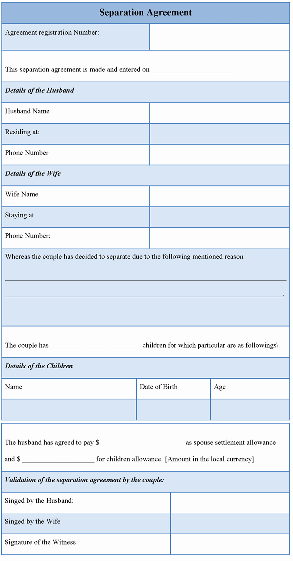 Template for Separation Agreement Beautiful Separation Agreement Template