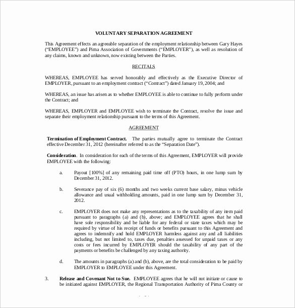 Template for Separation Agreement Best Of 25 Of Negotiating Severance Package Template
