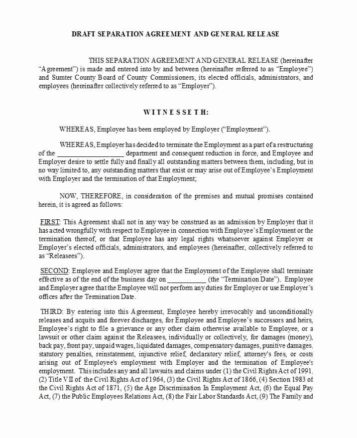 Template for Separation Agreement Elegant 43 Ficial Separation Agreement Templates Letters