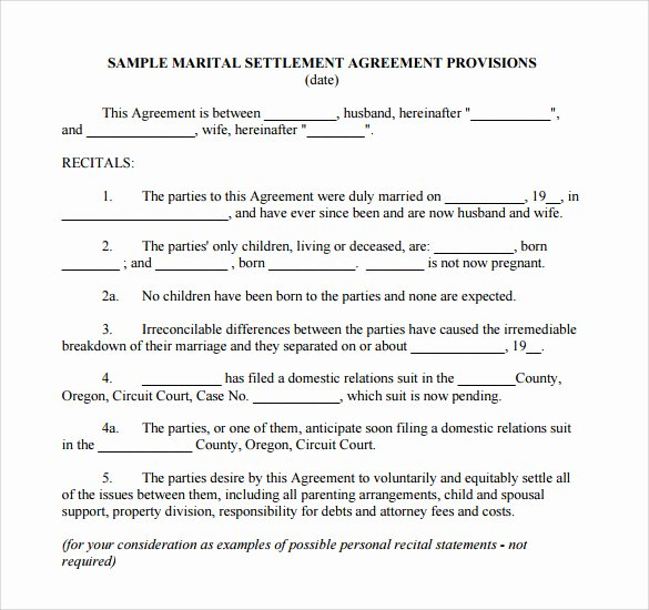 Template for Separation Agreement Elegant Sample Separation Agreement 9 Documents In Pdf Word