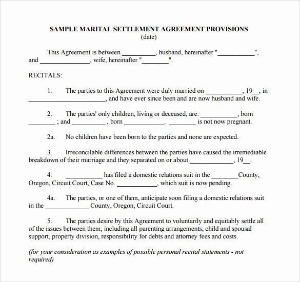 Template for Separation Agreement Elegant Sample Separation Agreement 9 Documents In Pdf Word