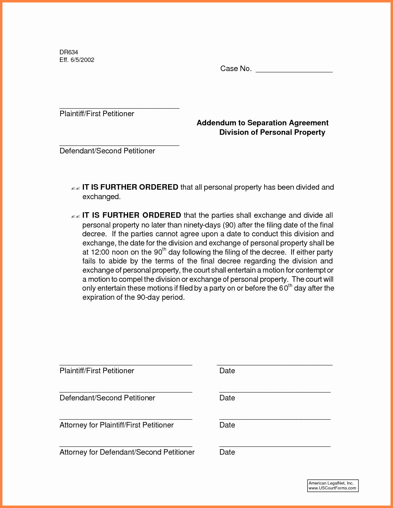 Template for Separation Agreement Fresh 6 Mon Law Separation Agreement Template