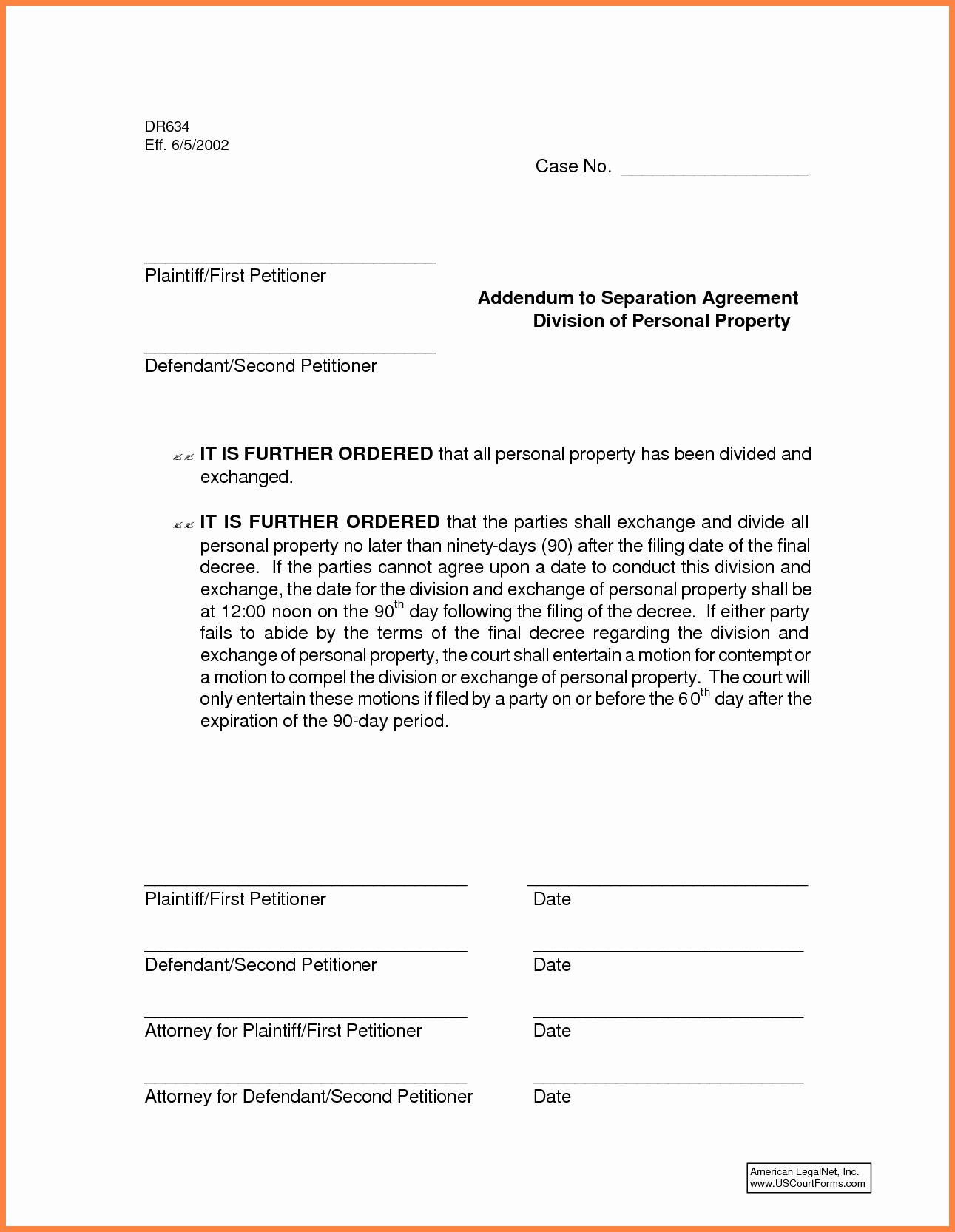 Template for Separation Agreement Fresh 6 Mon Law Separation Agreement Template