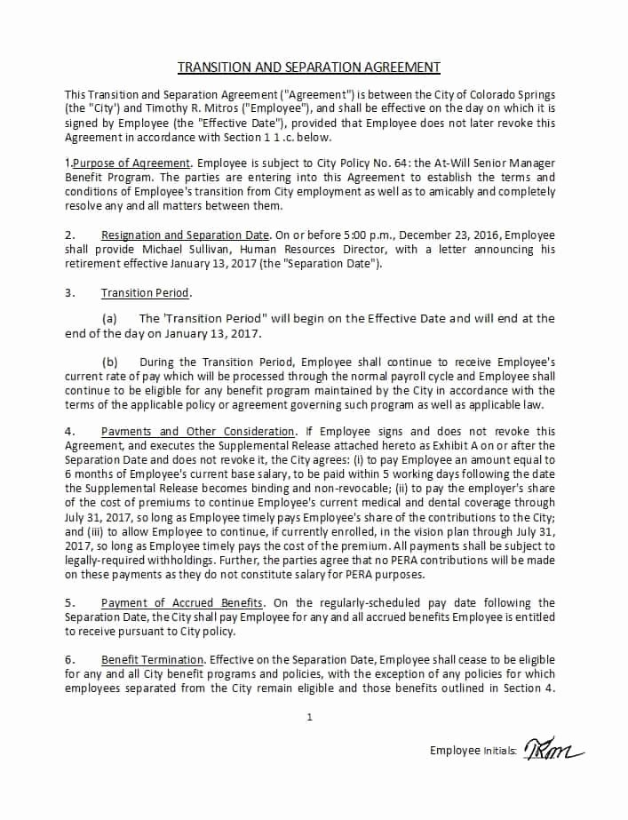 Template for Separation Agreement Inspirational 43 Ficial Separation Agreement Templates Letters