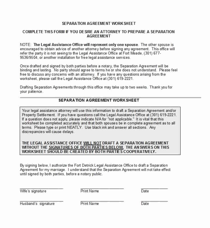 Template for Separation Agreement New 43 Ficial Separation Agreement Templates Letters