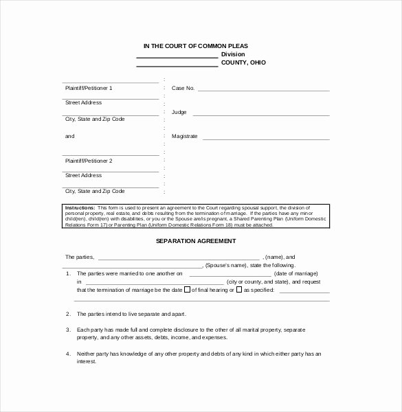 Template for Separation Agreement New Separation Agreement Template – 14 Free Word Pdf