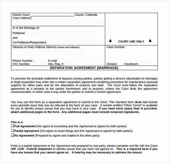 Template for Separation Agreement Unique Sample Separation Agreement Template 8 Free Documents