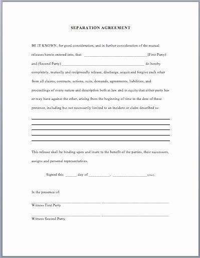 Template for Separation Agreement Unique Separation Agreement Template