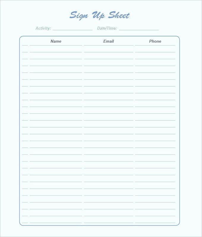 Template for Sign Up Sheet Awesome Free Sign Up Sheet Template Word Excel