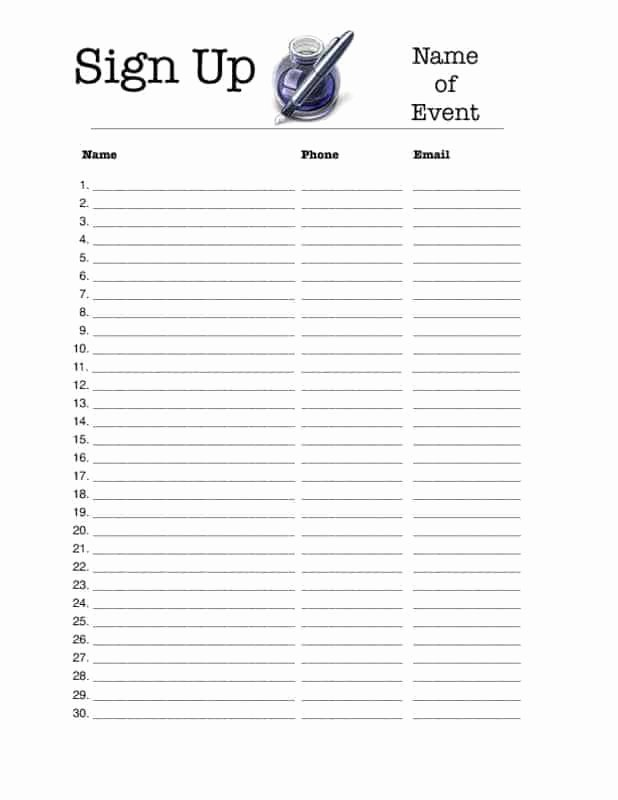 Template for Sign Up Sheet Beautiful 4 Excel Sign Up Sheet Templates Excel Xlts