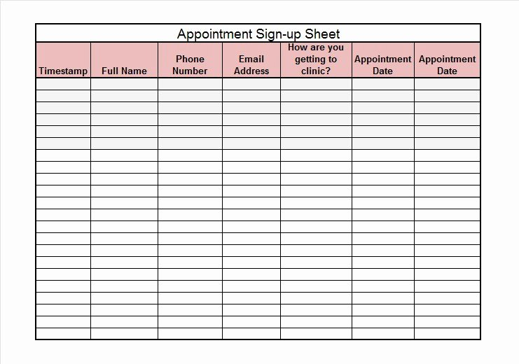 Template for Sign Up Sheet Elegant 40 Sign Up Sheet Sign In Sheet Templates Word & Excel